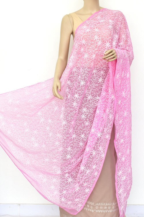 Onion Hand Embroidered Allover Tepchi Work Lucknowi Chikankari Dupatta (Faux Georgette) 18048