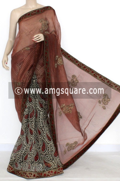 Rust Designer Supernet Embroidered Saree (With Blouse) Half-Half 16157