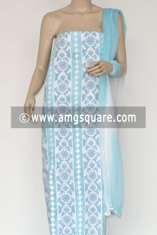 Sky Blue Un-stitched Hand-embroidered Lucknowi Chikankari Salwar Kameez (Cotton) 17862
