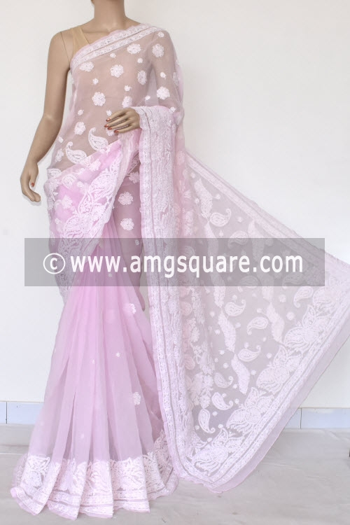 3ce983d756 Baby Pink Designer Hand Embroidered Lucknowi Chikankari Saree (With Blouse  - Georgette) 14605