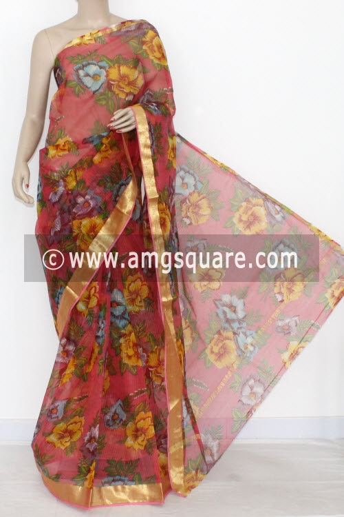 Peach JP Kota Doria Printed Cotton Saree (without Blouse) Zari Border 15317