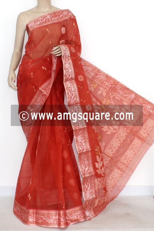 Rust Handwoven Bengal Tant Cotton Saree (Without Blouse) Silver Zari 14007