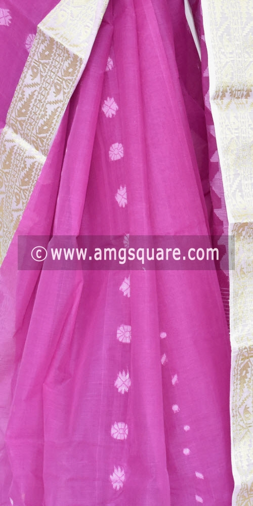 Purple Handwoven Bengal Tant Cotton Saree (Without Blouse) Zari Border 17350