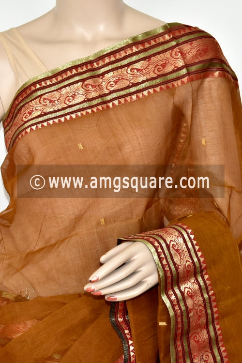 Teak Color Handwoven Bengal Tant Cotton Saree (Without Blouse) Zari Border 17426