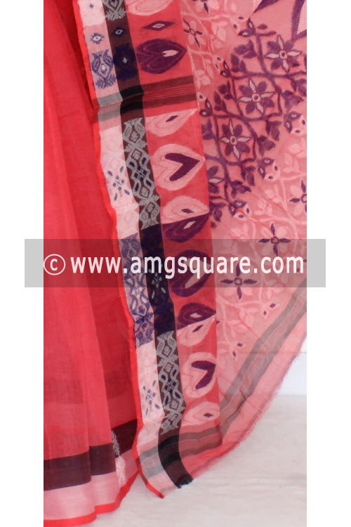 Peach Handwoven Bengal Tant Cotton Saree (Without Blouse) 14176