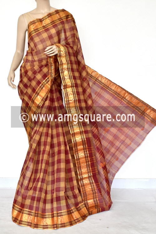 Maroon Fawn Check Handwoven Bengal Tant Cotton Saree (Without Blouse) Zari Border 17422