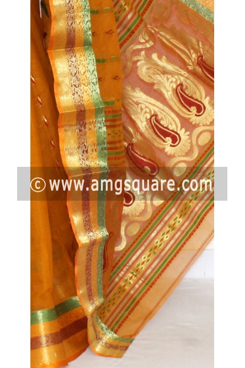 Mustared Yellow Handwoven Bengal Tant Cotton Saree (Without Blouse) Zari Border & Pallu 17134