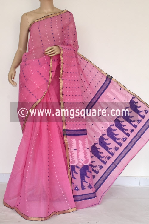 Pink Handwoven Thousand Booti Bengal Tant Cotton Saree (Without Blouse) 14043