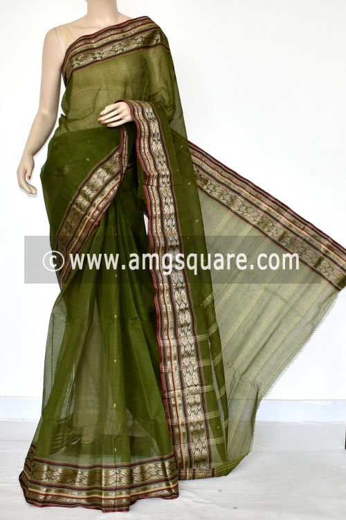 Bottle Green Handwoven Bengal Tant Cotton Saree (Without Blouse) 17425