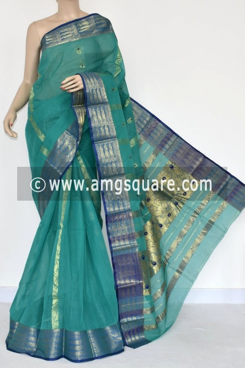 Sea Green Handwoven Bengal Tant Cotton Saree (Without Blouse) Zari Border & Pallu 17124