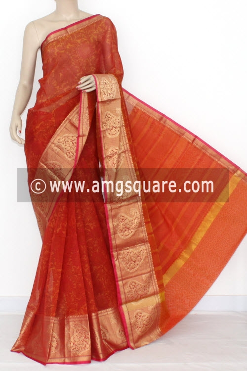 Orange Banarasi Kora Cot-Silk Printed Handloom Saree (With Blouse) 16102