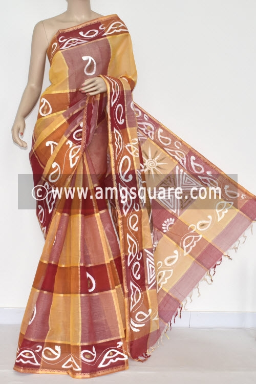 Red Yellow Handwoven Bengal Tant Cotton Saree (Without Blouse) Hand painted 17331