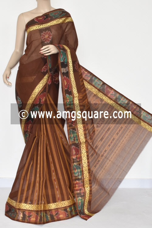 Coffee Color Handwoven Dhaniakhali Bengali Tant Cotton Saree (Without Blouse) Pochampalli Border 13958