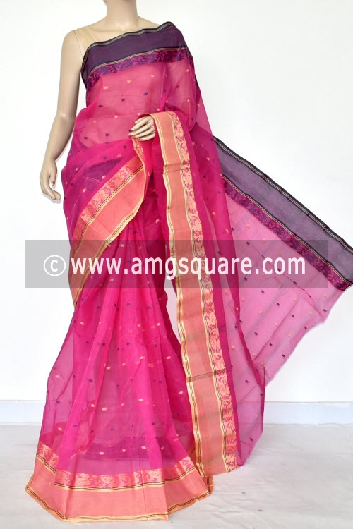 Dark Pink Handwoven Bengal Tant Cotton Saree (Without Blouse) Ganga Yamuna Border 17200