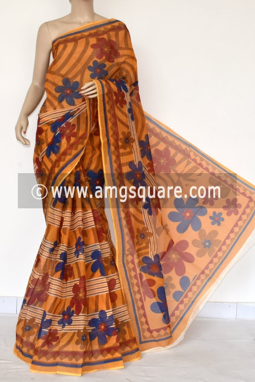 Mustared Yellow Premium JP Kota Doria Printed Cotton Saree (without Blouse) 15400