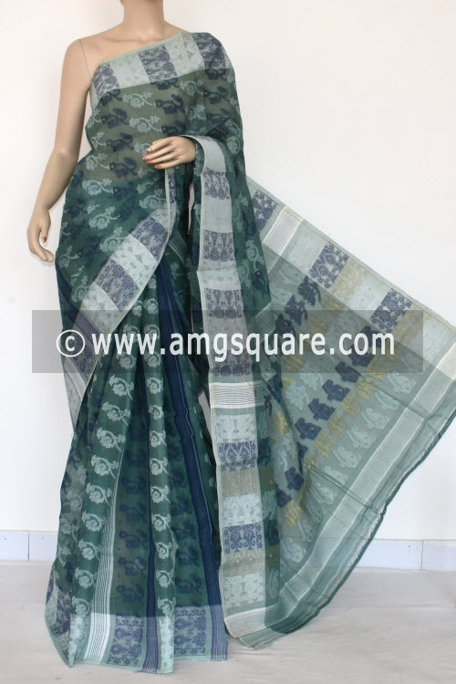Greyish Green Handwoven Bengal Jamdani Tant Cotton Saree (Without Blouse) 17418