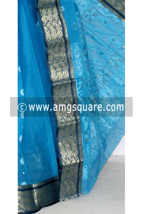 Pherozi Blue Handwoven Bengal Tant Cotton Saree (Without Blouse) Zari Border 14131