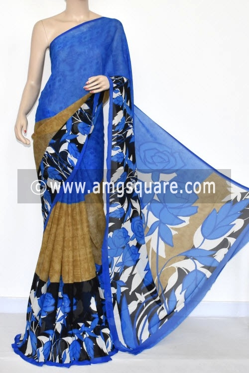 Blue Printed Wrinkle Georgette Saree (With Blouse) 13424