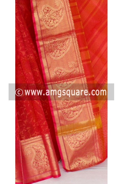 Rani Banarasi Kora Cot-Silk Printed Handloom Saree (With Blouse) 16105