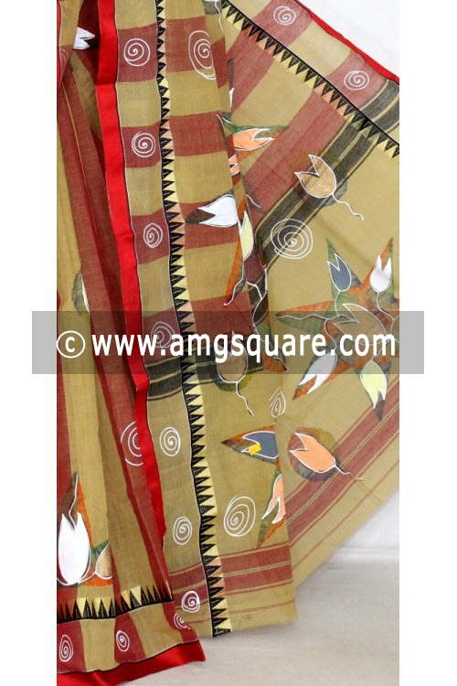 Fawn Hand-printed Bengal Tant Cotton Saree (Without Blouse) 13908
