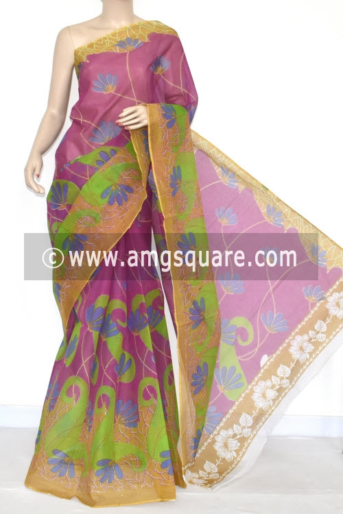 Purple Green Premium JP Kota Doria Printed Cotton Saree (without Blouse) 15338