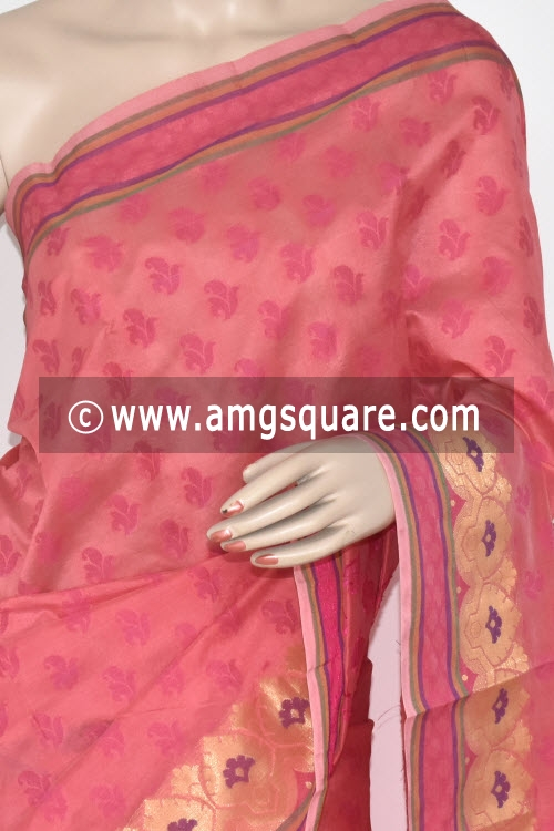 Peach Handloom Banarasi Semi Cotton Saree (with Blouse) Allover Resham Weaving 16215