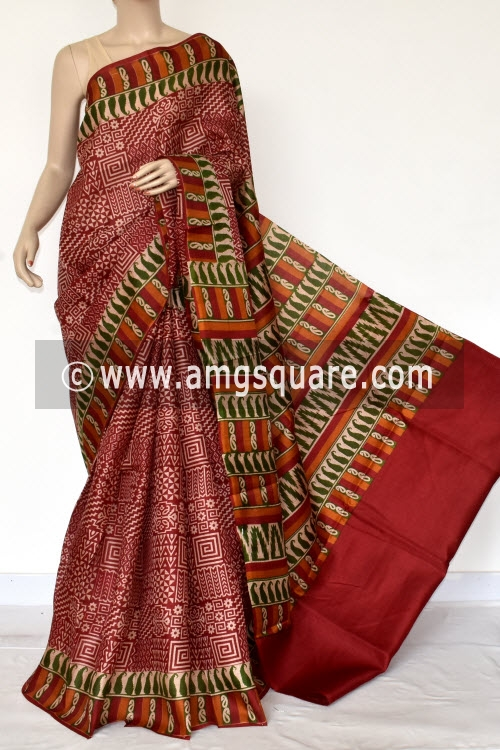 Maroon Tusser Art Silk Printed Saree (With Blouse) 13446