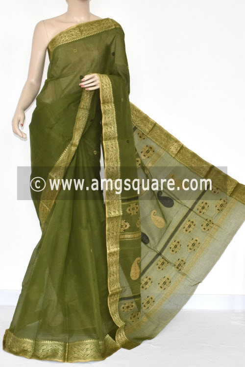Menhdi Green Handwoven Bengal Tant Cotton Saree (Without Blouse) 17356