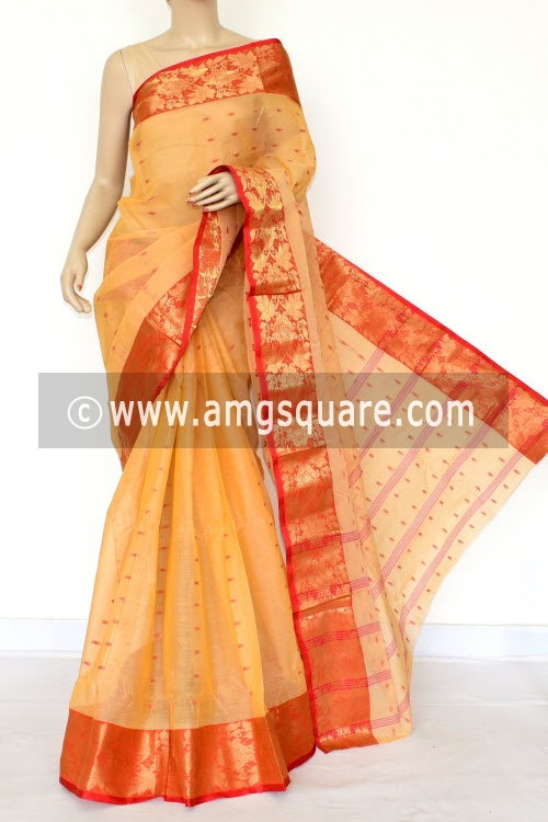 57bae332b2 Beige Red Handwoven Bengal Tant Cotton Saree (Without Blouse) Zari Border  17208
