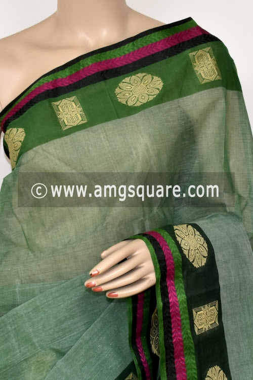 Light Green Handwoven Bengal Tant Cotton Saree (Without Blouse) 14256