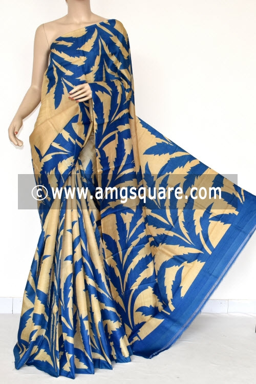 Fawn Blue Handloom Pure Silk Saree (With Blouse) 13802