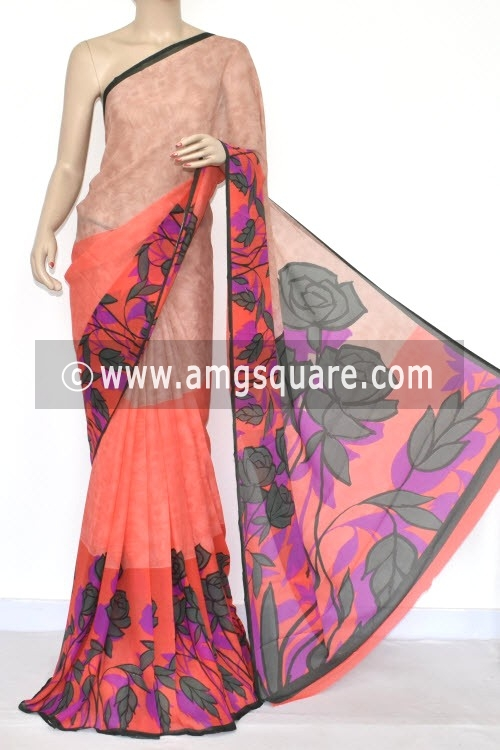 Peach Printed Wrinkle Georgette Saree (With Blouse) 13433