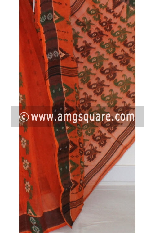 Orange Handwoven Bengal Tant Cotton Saree (Without Blouse) 14157