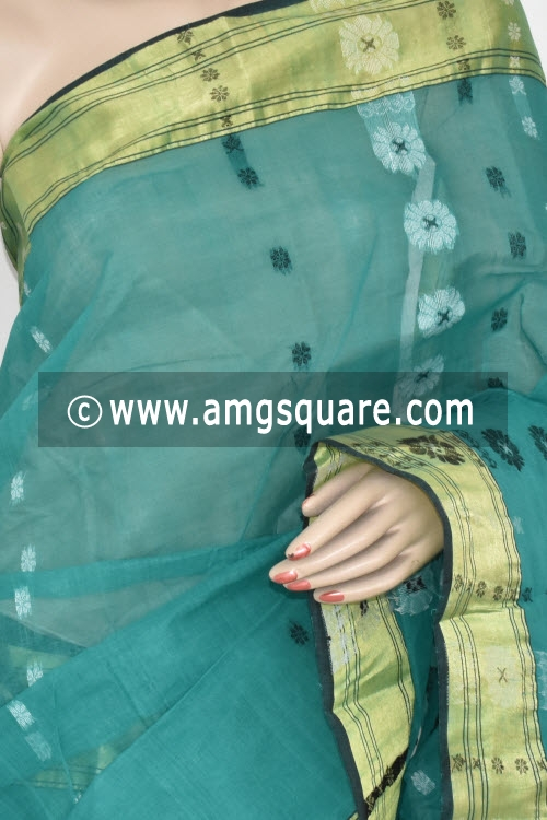 Sea Green Handwoven Bengal Tant Cotton Saree (Without Blouse) 17365