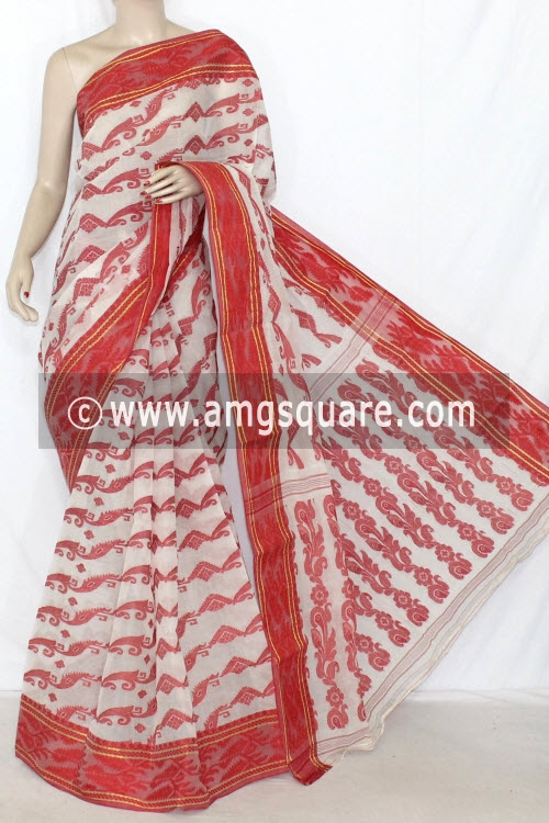 Red Handwoven Bengal Jamdani Tant Cotton Saree (Without Blouse) 14294