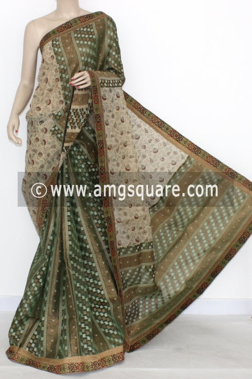 Green Designer Supernet Embroidered Saree (With Blouse) Half-Half 16160