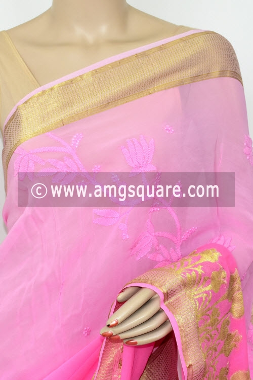 Pink Shaded Hand Embroidered Lucknowi Chikankari Saree (With Blouse - Viscose) Zari Border 14885