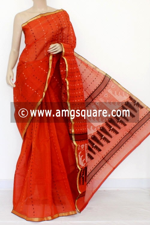 Rust Handwoven Thousand Booti Bengal Tant Cotton Saree (Without Blouse) 14036