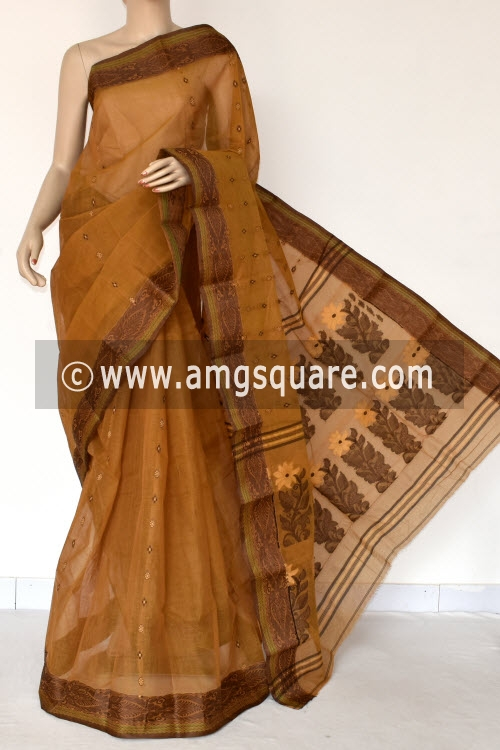 Mustared Yellow Handwoven Bengal Tant Cotton Saree (Without Blouse) Resham Border 14145
