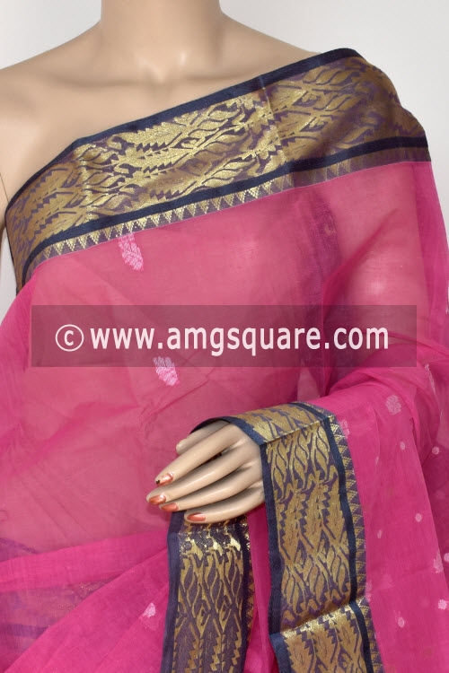Pink Handwoven Bengal Tant Cotton Saree (Without Blouse) Zari Border 14104