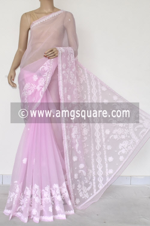 Light Pink Hand Embroidered Lucknowi Chikankari Saree (With Blouse - Georgette) 14614